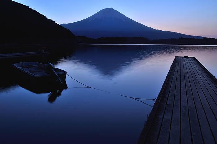 入江に戻り朝焼けを撮る