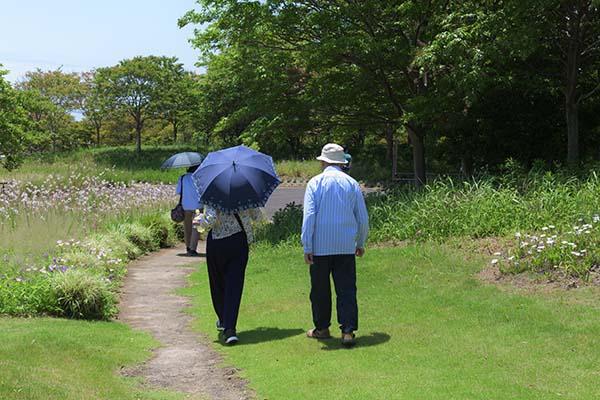 日傘をさして