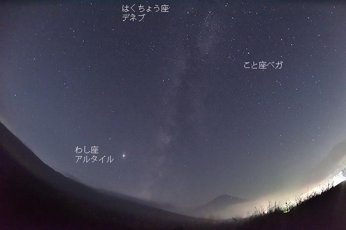 夏の大三角形と富士山
