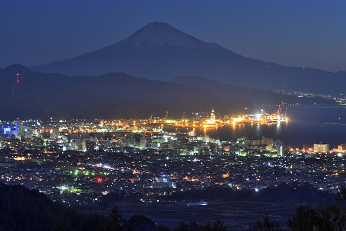 富士山と清水港夜景