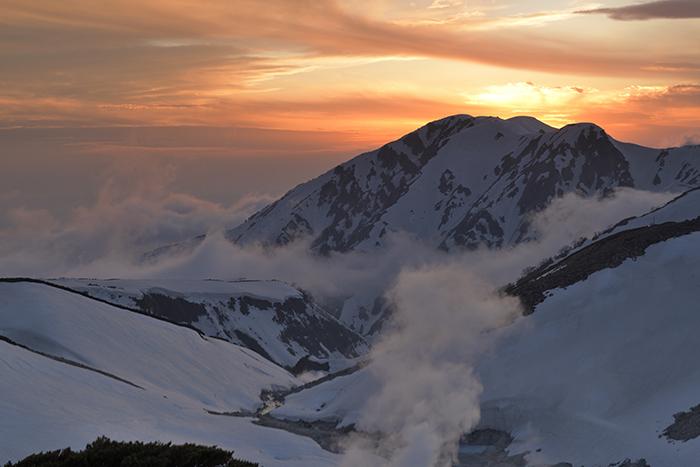 大日連山の日没