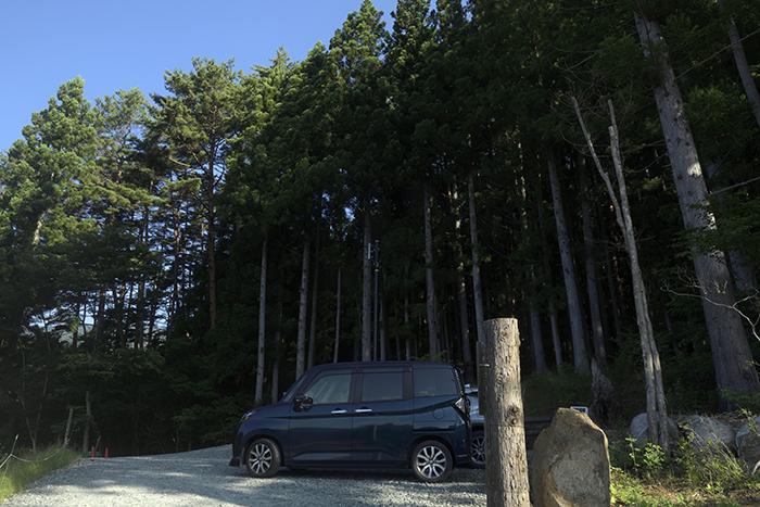 林の中の駐車場