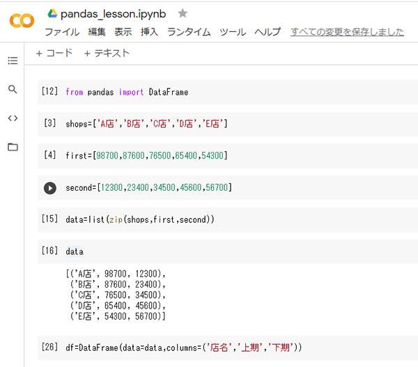 pythonへpandasの実装によりリストを表化します。